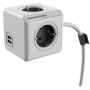 """Allocacoc""""PowerCube Extended USB inkl. 3 m Kabel grau Type F"""""""