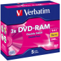 "Verbatim ""1x5 Verbatim DVD-RAM 9,4GB 3x Speed hardcoated Cartridge T4"""